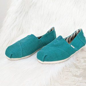 Toms Teal Canvas Slip On Shoes